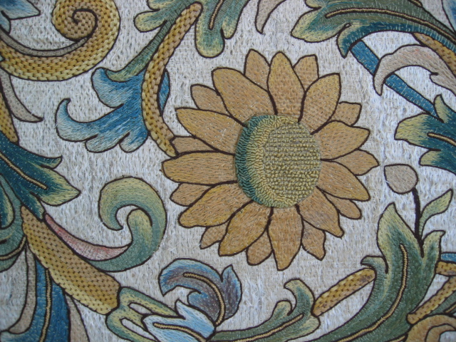 Kathleen Taylor - Italian Silk Floss Panel Sunflower Detail